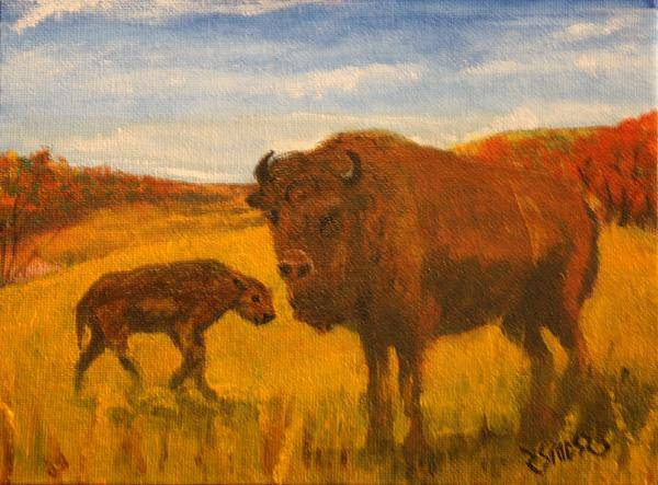 Buffalo Art Print featuring the painting Mother And Son by Rick Stoesz
