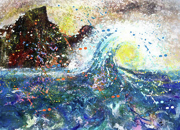 Waves Art Print featuring the painting Mountain Wave by Valerie Wolf