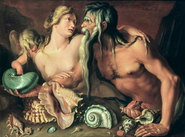 Shell; Cupid; Sea Gods; Love Art Print featuring the painting Neptune And Amphitrite by Jacob II de Gheyn