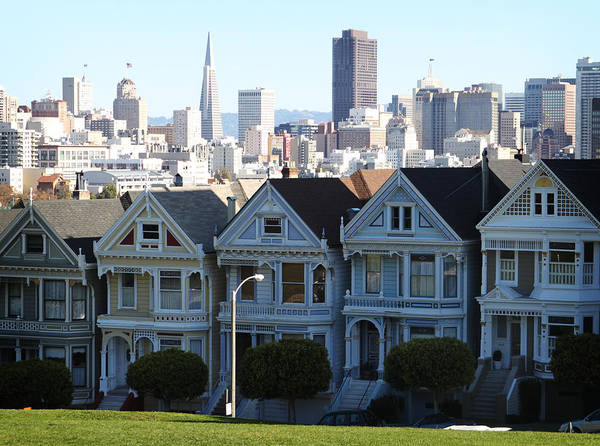 San Francisco Art Print featuring the photograph Painted Ladies by Linda Woods