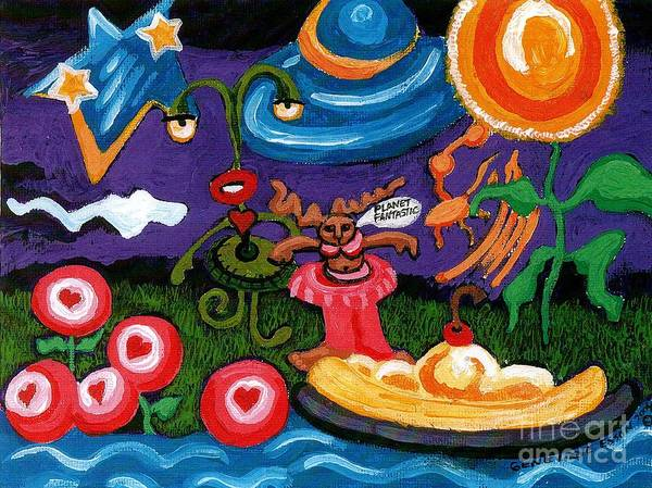 Planet Fantastic Art Print featuring the painting Planet Fantastic by Genevieve Esson