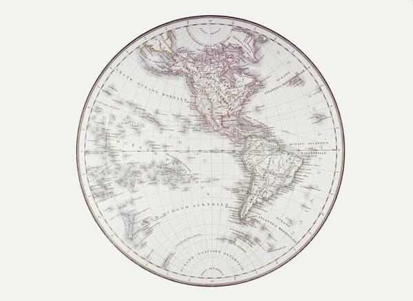 Horizontal Art Print featuring the digital art Planispheric Map Of The Western Hemisphere by Fototeca Storica Nazionale