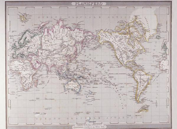 Horizontal Art Print featuring the digital art Planispheric Map Of The World by Fototeca Storica Nazionale