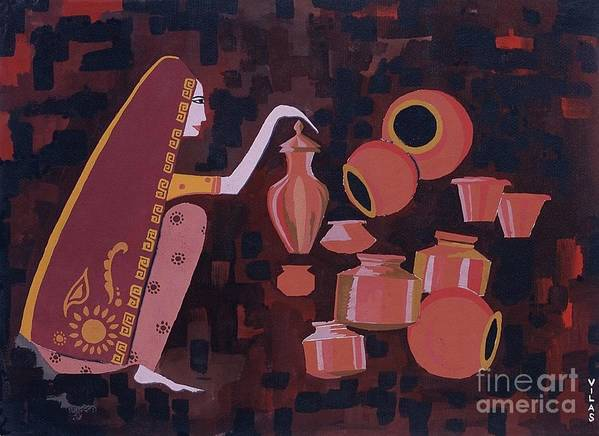 Potter Woman Pots Creations Shapes Brown Earthen Design Forms Print featuring the painting Potter by Vilas Malankar
