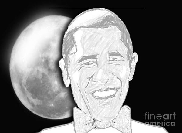 Famous African American Print featuring the digital art President Barrack Obama by Belinda Threeths