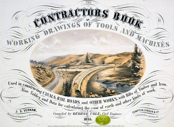 1850s Art Print featuring the photograph Print Shows Construction Of A Railroad by Everett