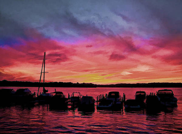 Peace River Art Print featuring the photograph Punta Gorda Sunset by Sandy Poore