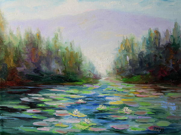 Stream Art Print featuring the painting Quiet Stream - Cascade Mountains by Becky Bragg