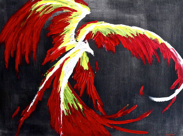 Phoenix Art Print featuring the painting Rebirth by Eric Chapman
