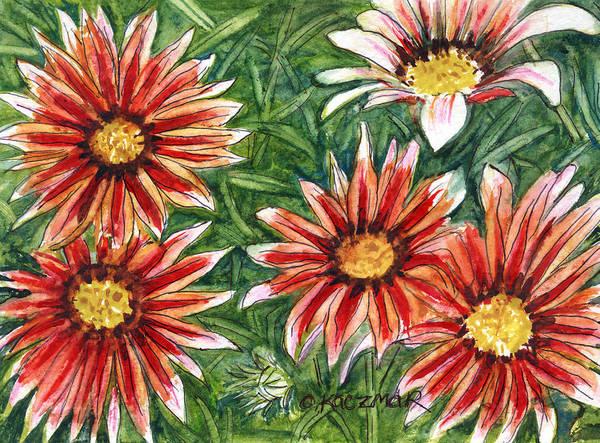 Flowers Art Print featuring the painting Red Gazanias by Olga Kaczmar