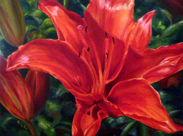 Red Lily Art Print featuring the painting Red Lily by Lesley Paul
