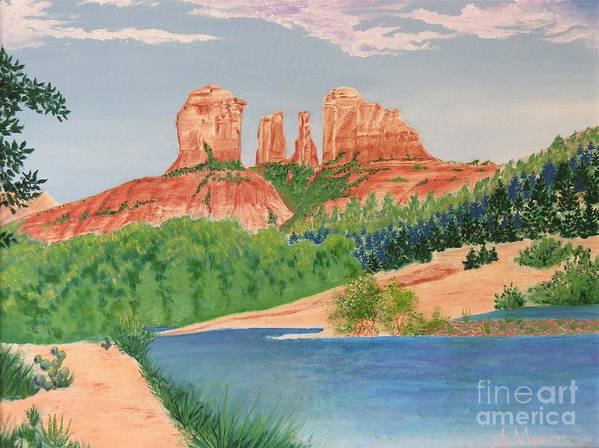 Aimee Mouw Art Print featuring the painting Red Rock Crossing by Aimee Mouw