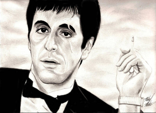 Scarface Art Print featuring the drawing Scarface by Michael Mestas
