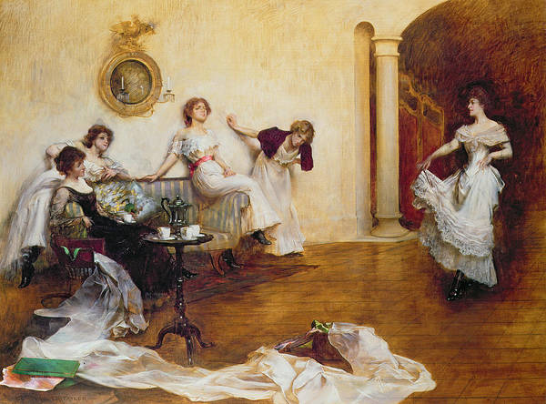 Silks And Satins Art Print featuring the painting Silks And Satins by Albert Chevallier Tayler