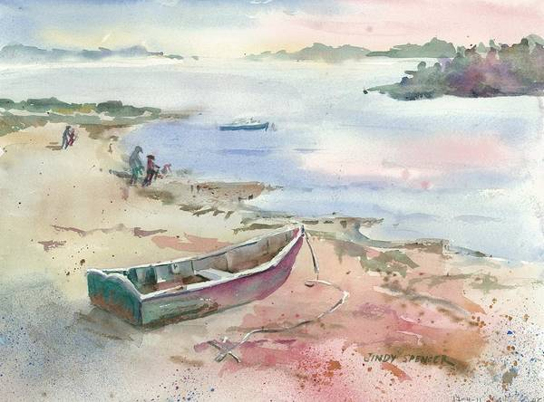 Skiff Art Print featuring the painting Skiff At Sunset by Cindy Spencer