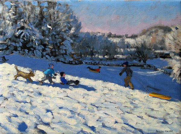 Sledge Art Print featuring the painting Sledging Near Youlgreave by Andrew Macara