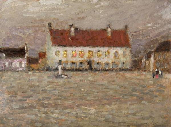 A Place; Gravelines; North France; Nord-pas-de-calais; Nord Pas De Calais; Huile Sur Panneau;landscape; Post-impressionist; Neo-impressionist; Impressionist; House; Red; View; Study; Architecture; French; France Print featuring the painting Square - Fort-philippe by Henri Eugene Augustin Le Sidaner