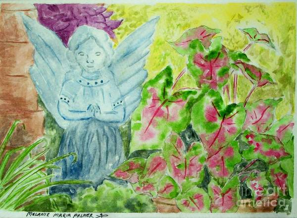 Angel Art Print featuring the painting Stone Angel And Caladiums by Melanie Palmer