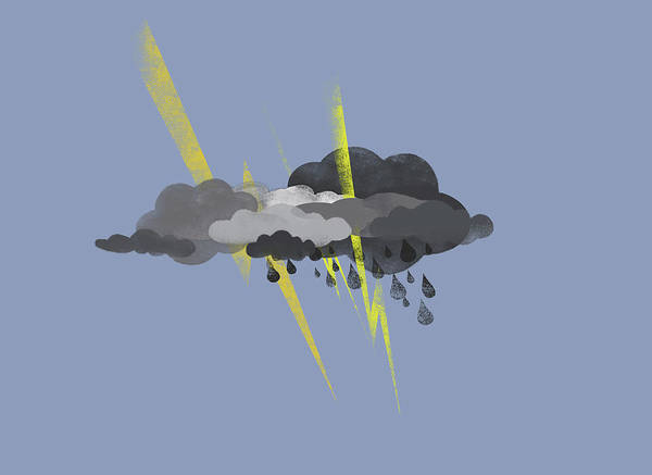 Horizontal Art Print featuring the digital art Storm Clouds, Lightning And Rain by Jutta Kuss