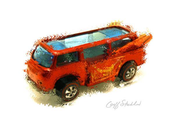 Hot Wheels Surfing Volkswagen Van Camper Red Art Print featuring the digital art Surfs Up by Geoff Strehlow