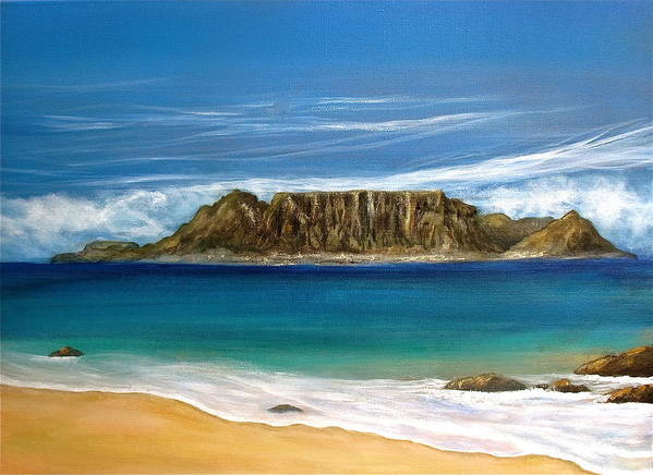 South Africa Art Print featuring the painting Table Mountain 2 by Heather Matthews