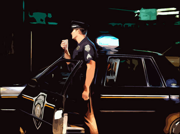Police Art Print featuring the photograph The Blue Line by Robert Ponzoni