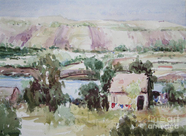 Landscape Art Print featuring the painting The House By The River by Gayatri Vasudevan