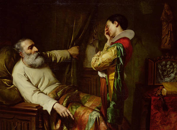 The Last Moments Of Christopher Columbus (1450-1506) 1870 (oil On Canvas) Ordering His Son To Place The Chains He Wore When Arrested In The Coffin With Him; Dying; Old; Death; Spanish Explorer; Father; Last Wishes; Manacles; Christophe Colomb;deathbed Art Print featuring the painting The Last Moments Of Christopher Columbus by Claude Jacquand