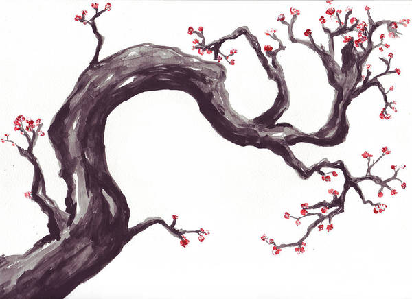 Plum Art Print featuring the painting The Promise Of Spring by Rebecca Blain