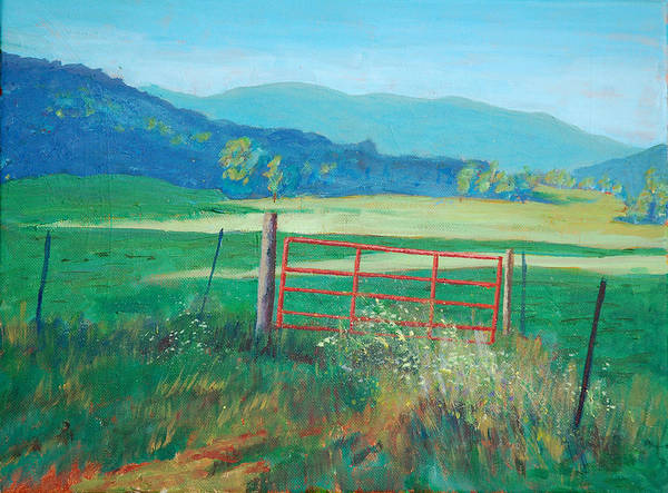 Meadow Art Print featuring the painting The Red Gate by David Carson Taylor