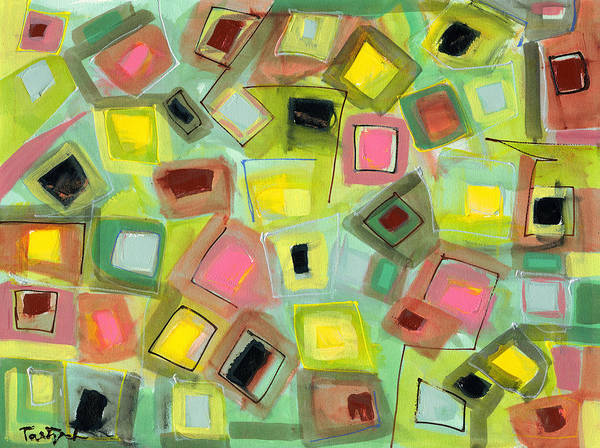 Abstract Art Print featuring the painting Tilted Boxes by Lynne Taetzsch