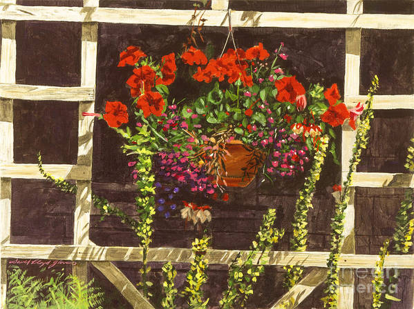 Garden Trellis Art Print featuring the painting Trellis Flower Pot by David Lloyd Glover