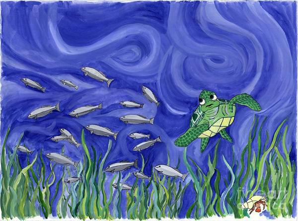 Sea Turtle Art Print featuring the painting Turtle Chasing Minnows by Erin McNutt