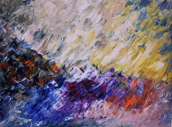 Seascape Art Print featuring the painting Unpredictable Tsunami by Nicolas Bouteneff