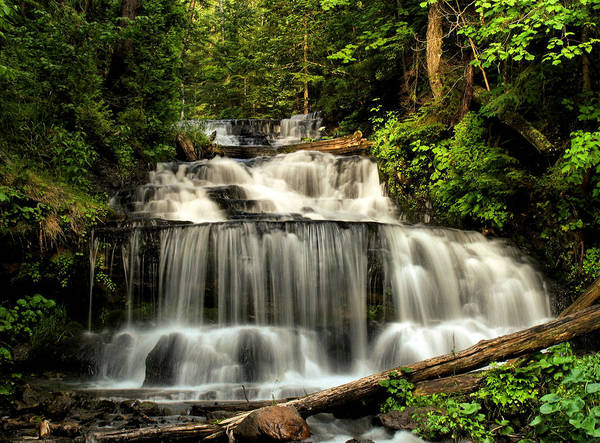Wagner Falls Art Print featuring the photograph Wagner Falls In Summer by Matthew Winn