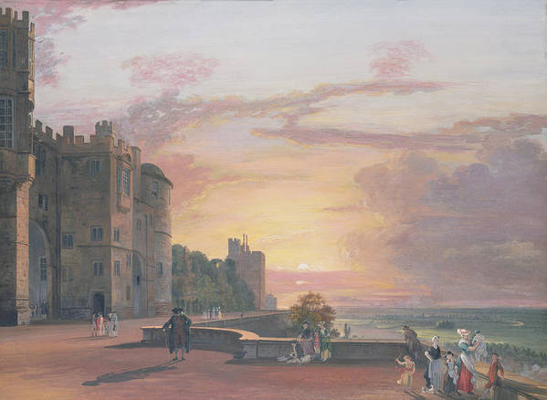 Windsor Castle: North Terrace Looking West At Sunset Art Print featuring the painting Windsor Castle North Terrace Looking West At Sunse by Paul Sandby