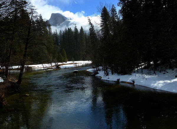 Yosemite In Winter Art Print featuring the photograph Winter Half Dome And The Merced River by Jeff Lowe