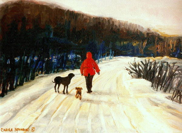 Quebec Artist Art Print featuring the painting Winter Road Quebec Laurentian Landscape by Carole Spandau