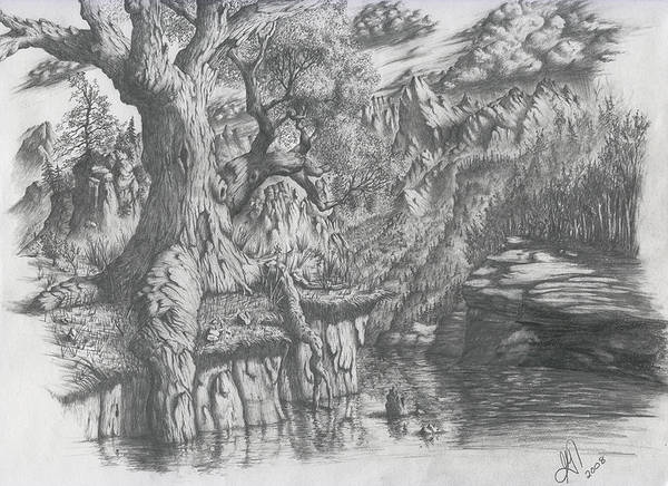 Tree Art Print featuring the drawing Wise Old Tree by Scott Gilbert