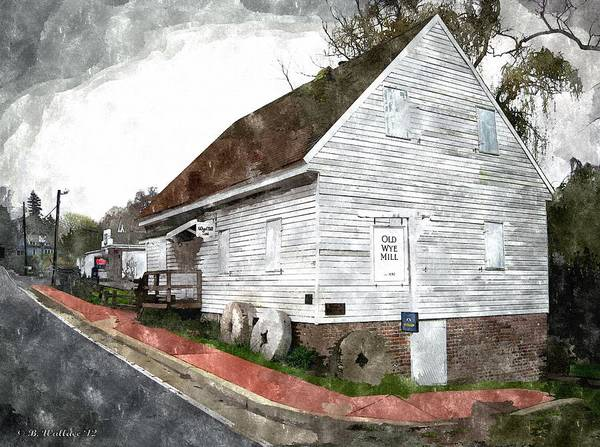 2d Art Print featuring the photograph Wye Mill - Water Color Effect by Brian Wallace