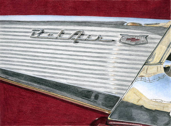 Classic Art Print featuring the drawing 1957 Chevrolet Bel Air Convertible by Rob De Vries