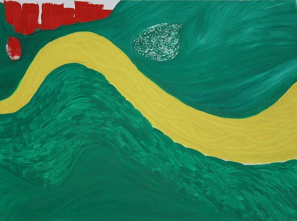 Art Print featuring the painting Bend In The River by Prakash Bal Joshi