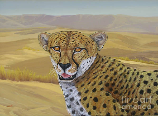 Cheetah Art Print featuring the painting In Alert by Juan Enrique Marquez