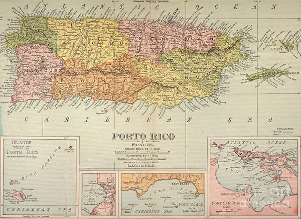 1900 Art Print featuring the painting Map: Puerto Rico, 1900 by Granger