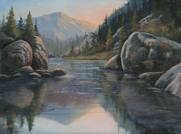Landscape Art Print featuring the painting 071215-1612 Fading Light by Kenneth Shanika