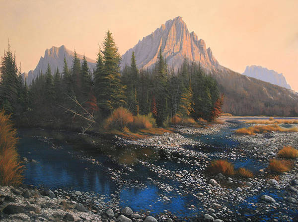 Autumn Art Print featuring the painting 080414-4030 September Evening On Horse Thief Creek by Kenneth Shanika