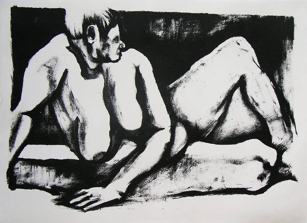 Nude Art Print featuring the drawing Air Conditioned Stomach by Brad Wilson