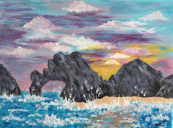 Ocean Art Print featuring the painting Cabo San Lucas by Karen Lee