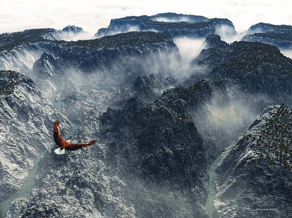 Jim Coe Art Print featuring the digital art Cloud Canyon by Jim Coe