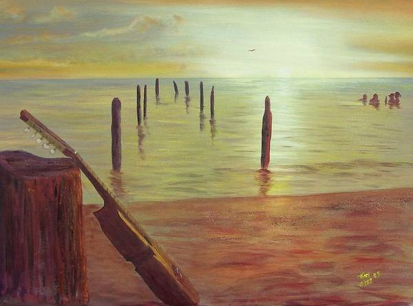 Seascape Art Print featuring the painting Cuatro Sunset by Tony Rodriguez